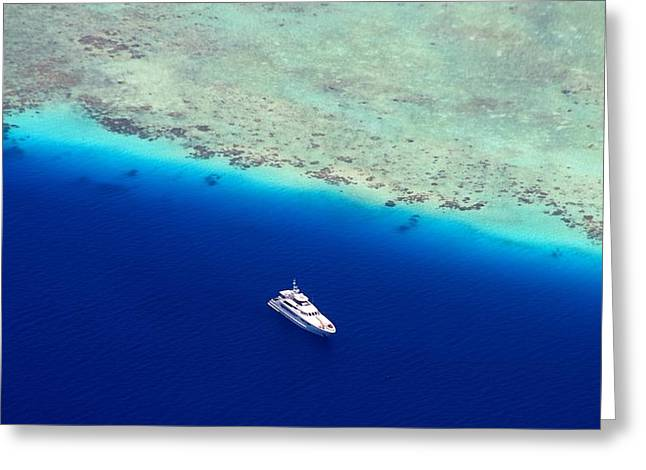 Maldivian Greeting Cards - White Diving Boat Staying at Coral Reef Greeting Card by Jenny Rainbow