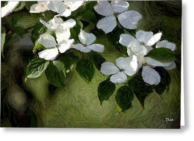Blossoming Tapestries - Textiles Greeting Cards - White Dogwoods in Spring I Greeting Card by Thia Stover