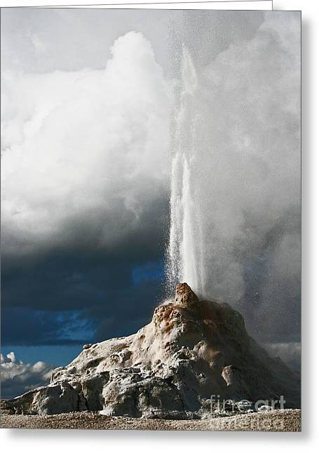 White Dome Geyser Three Greeting Card by Donald Sewell