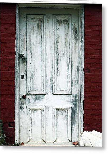 Red Buildings Greeting Cards - White Door Greeting Card by John Rizzuto