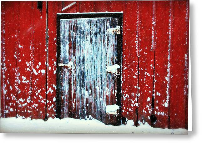 Hardware Greeting Cards - White Door Greeting Card by Julie Hamilton