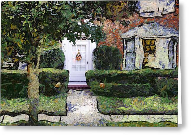 Residential Structure Digital Greeting Cards - White Door Mixed Media 04 Greeting Card by Thomas Woolworth
