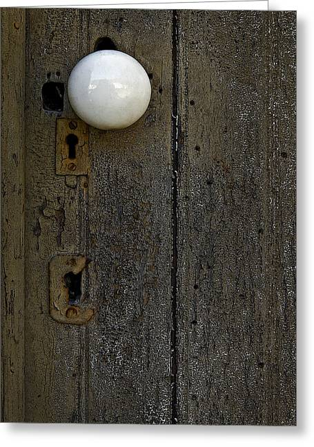 Door Knob Greeting Cards - White Doorknob Greeting Card by Murray Bloom