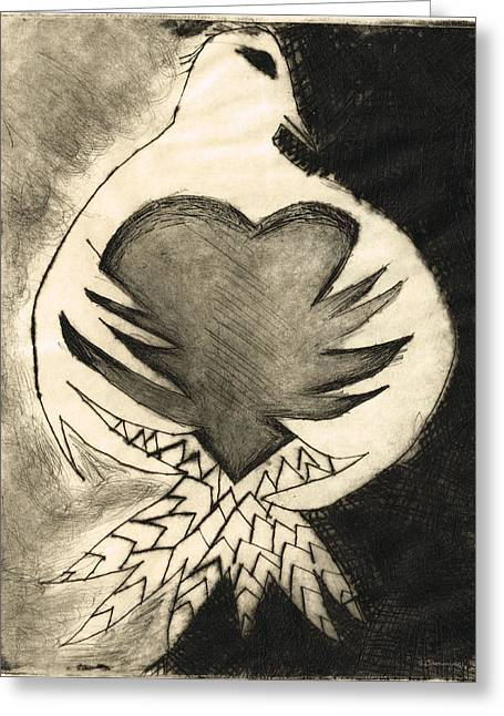 Etching Greeting Cards - White Dove Art - Comfort - By Sharon Cummings Greeting Card by Sharon Cummings