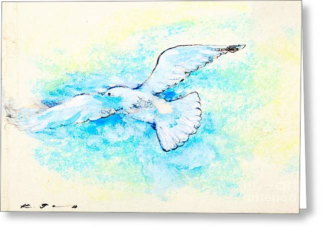 Flying Bird Pastels Greeting Cards - White dove Greeting Card by Kurt Tessmann