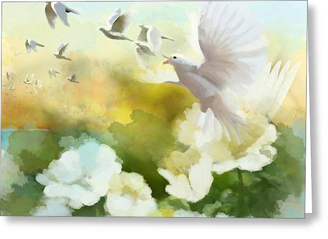 Owl Picture Greeting Cards - White Doves Greeting Card by Catf