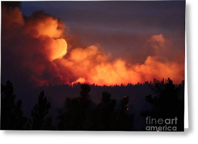 Greeting Card featuring the photograph White Draw Fire First Night by Bill Gabbert
