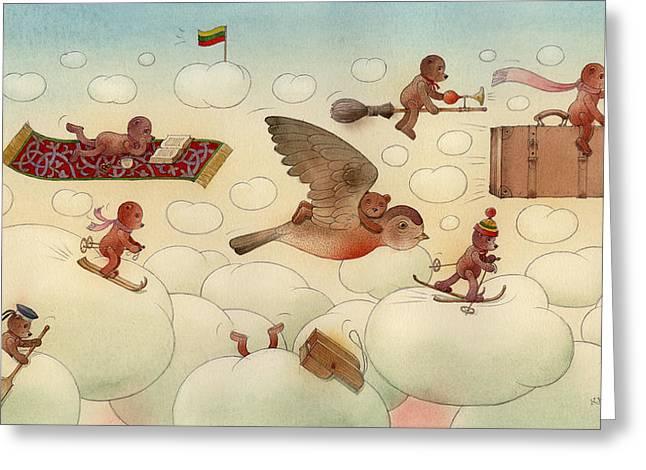 Sky Drawings Greeting Cards - White Dream 01 Greeting Card by Kestutis Kasparavicius