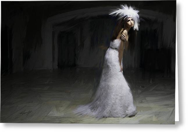 White Dress Greeting Card by H James Hoff