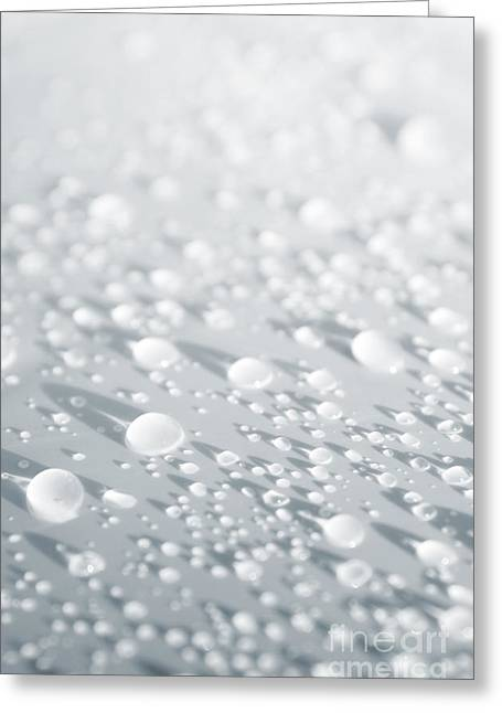Abstract Rain Greeting Cards - White Droplets Greeting Card by Carlos Caetano