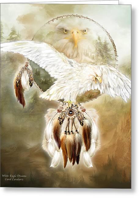 White Eagle Dreams Greeting Card by Carol Cavalaris