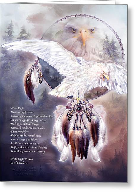 Eagle Greeting Cards - White Eagle Dreams w/prose Greeting Card by Carol Cavalaris