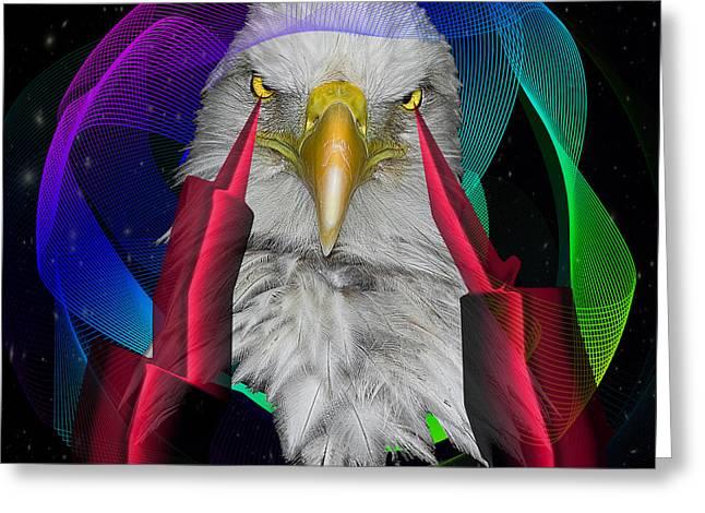white Eagle face Greeting Card by Mark Ashkenazi