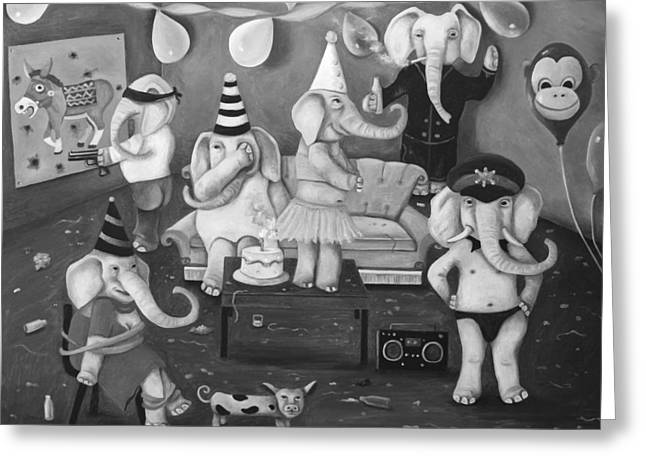 White Elephant Party Edit 2 Greeting Card by Leah Saulnier The Painting Maniac