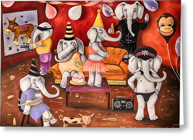 White Elephant Party Edit 3 Greeting Card by Leah Saulnier The Painting Maniac