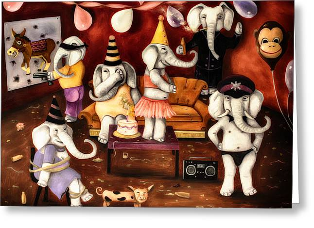 White Elephant Party Edit 4 Greeting Card by Leah Saulnier The Painting Maniac