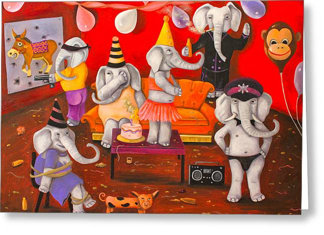 Elephant Drinking Greeting Cards - White Elephant Party edit 5 Greeting Card by Leah Saulnier The Painting Maniac