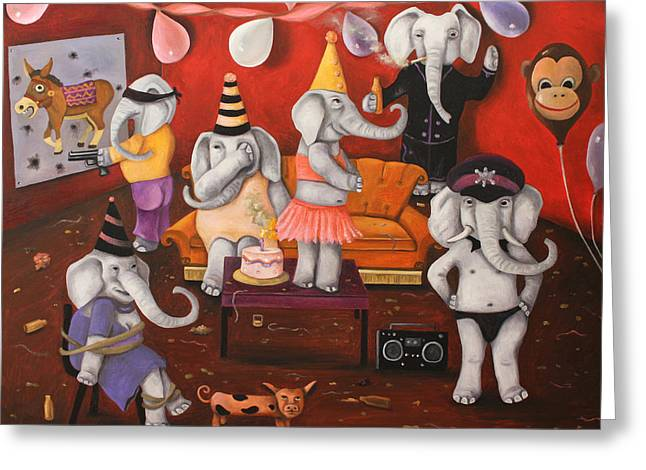 Elephant Drinking Greeting Cards - White Elephant Party Greeting Card by Leah Saulnier The Painting Maniac