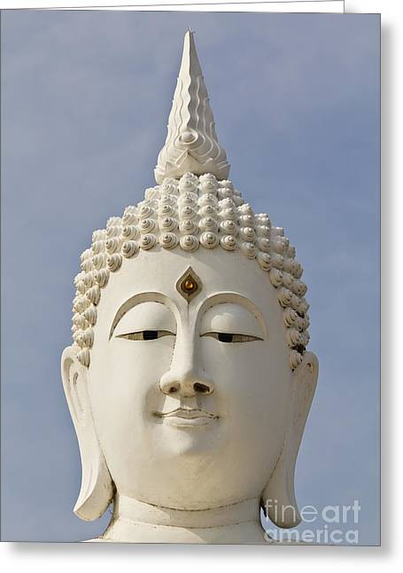 Gold Hair Greeting Cards - white face buddha image in temple Thailand Greeting Card by Tosporn Preede