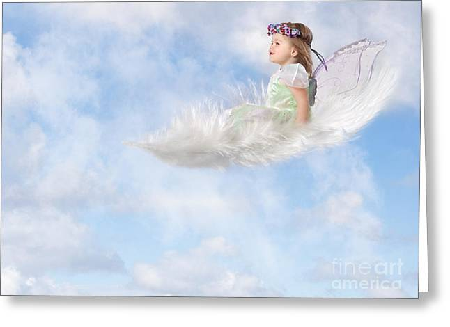 Levitation Photographs Greeting Cards - White Feather Dream Greeting Card by Cindy Singleton