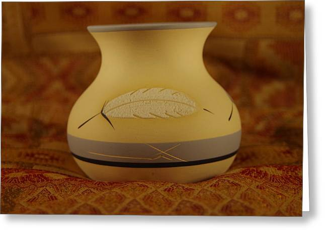 Pot Ceramics Greeting Cards - White Feather Greeting Card by Mike Wheeler