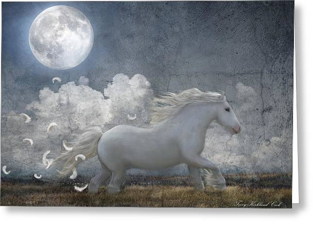 Dream Scape Greeting Cards - White Feathered Moon Greeting Card by Terry Kirkland Cook