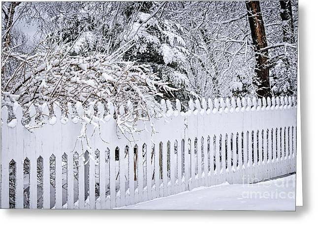 Snowstorm Greeting Cards - White fence with winter trees Greeting Card by Elena Elisseeva