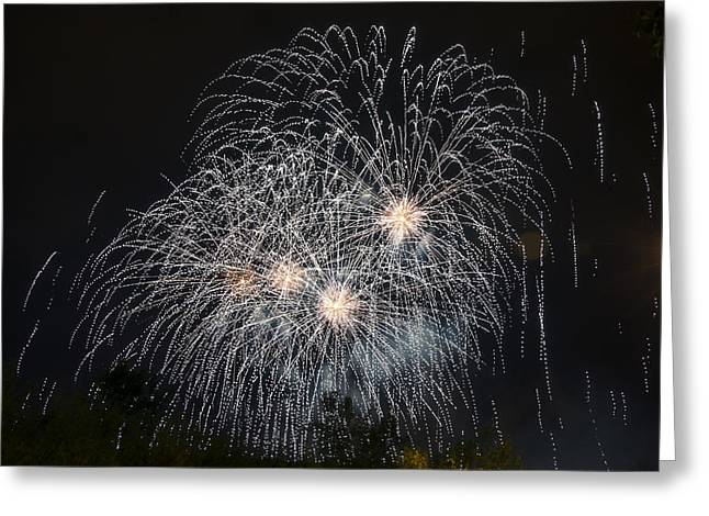 Pyrotechnics Greeting Cards - White fireworks Greeting Card by Tilyo Rusev