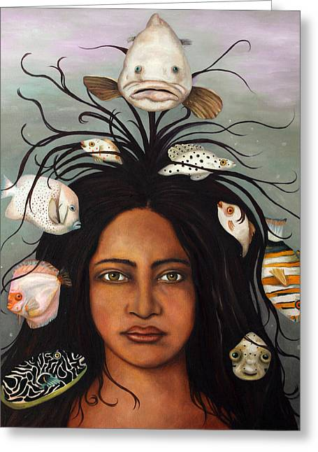 Afro-american Paintings Greeting Cards - White Fish edit 3 Greeting Card by Leah Saulnier The Painting Maniac