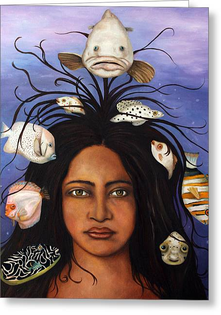 Afro-american Paintings Greeting Cards - White Fish Greeting Card by Leah Saulnier The Painting Maniac