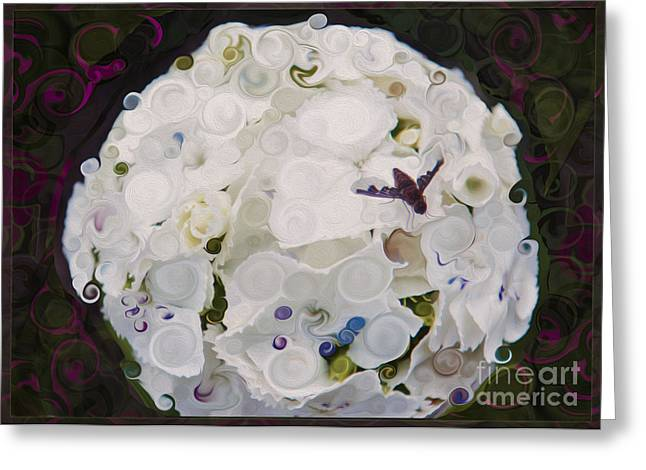 Owfotografik Mixed Media Greeting Cards - White Flower and Friendly Bee Mixed Media Painting Greeting Card by Omaste Witkowski
