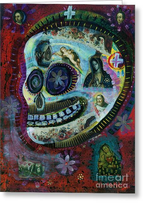 Apparel Mixed Media Greeting Cards - White Flower Covered Sugar Skull painting Greeting Card by Wild Colors