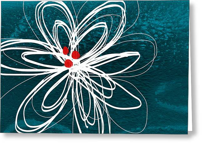 Red Petals Greeting Cards - White Flower Greeting Card by Linda Woods