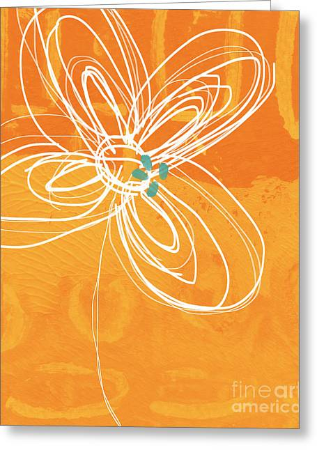 Blue And Orange Abstract Art Greeting Cards - White Flower on Orange Greeting Card by Linda Woods