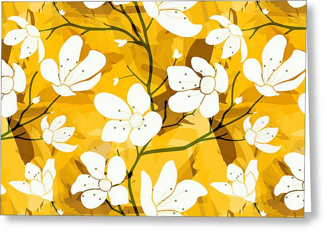 Cherry Blossoms Mixed Media Greeting Cards - White Flowers Of Early Summer Greeting Card by Bedros Awak