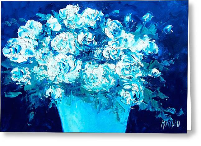 Lounge Paintings Greeting Cards - White Flowers on Blue Greeting Card by Jan Matson