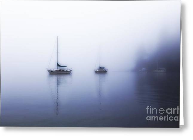 Sailboat Pyrography Greeting Cards - White Fog 2 Greeting Card by Jack Vainer
