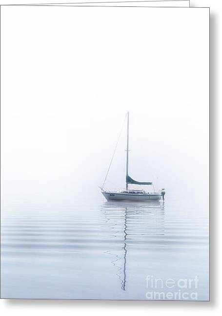 Sailboat Pyrography Greeting Cards - White fog Greeting Card by Jack Vainer