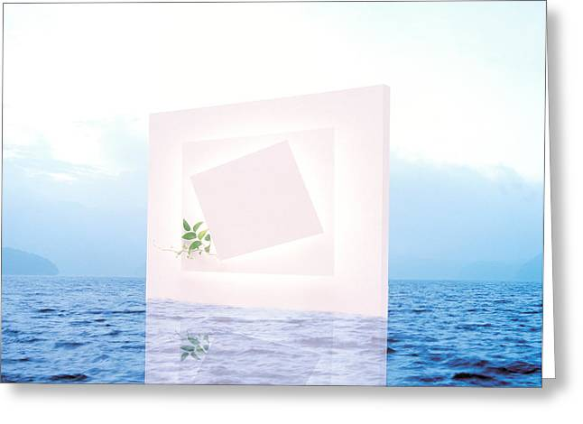 Lapping Greeting Cards - White Frame With Small Vine Floating Greeting Card by Panoramic Images