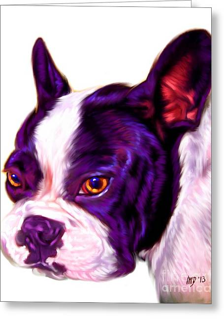 Bulldog Puppies Pictures Greeting Cards - White French Bulldog Greeting Card by Iain McDonald