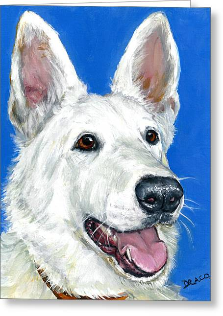 White German Shepherd On Blue Greeting Card by Dottie Dracos