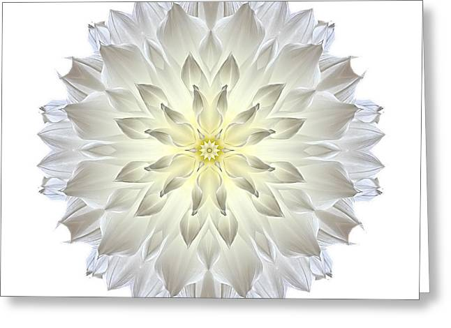 David J Bookbinder Greeting Cards - Giant White Dahlia I Flower Mandala White Greeting Card by David J Bookbinder