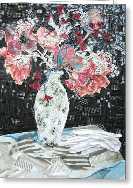 Table Cloth Mixed Media Greeting Cards - White Glove Greeting Card by Diane Fine