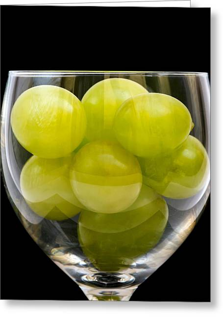 Grape Print Greeting Cards - White Grapes in Glass Greeting Card by Wim Lanclus