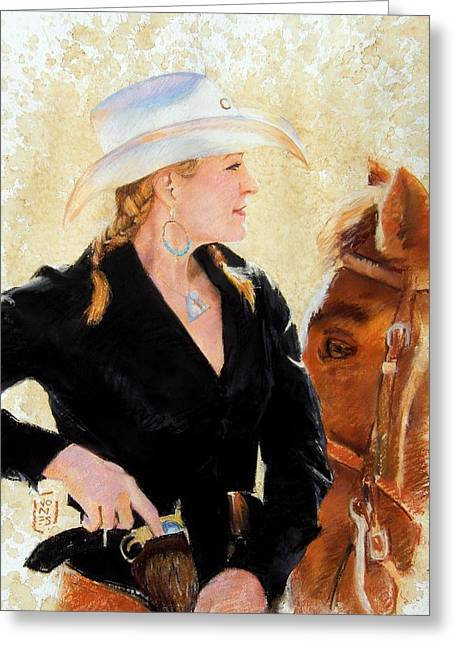 Debra Jones Greeting Cards - White Hat Greeting Card by Debra Jones