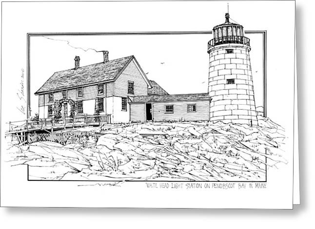 New England Lighthouse Drawings Greeting Cards - White Head Light Station Penobscot Maine Greeting Card by Ira Shander