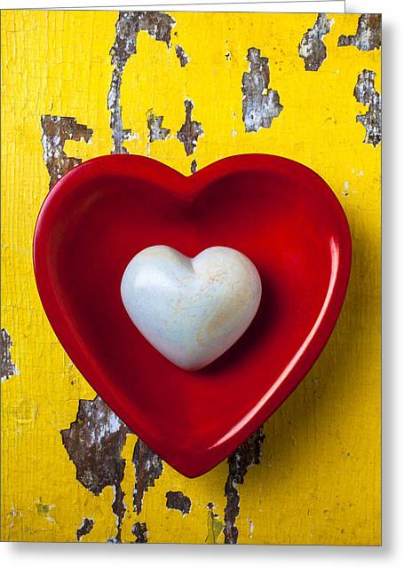 White Bowl Greeting Cards - White heart red heart Greeting Card by Garry Gay
