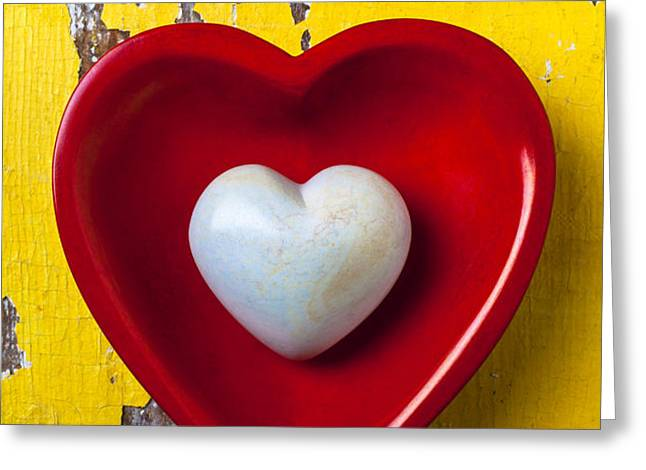 White heart red heart Greeting Card by Garry Gay