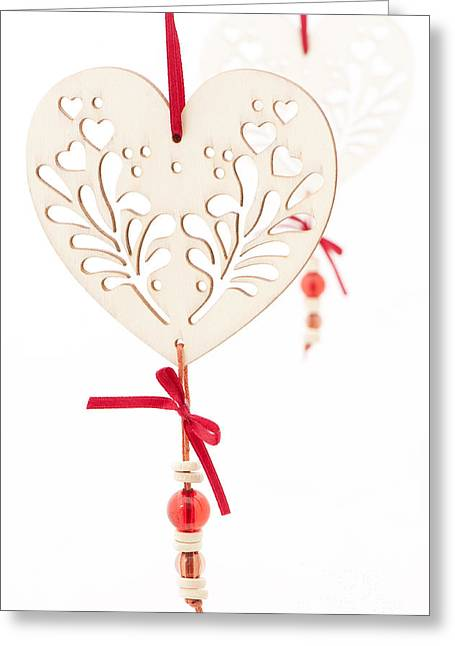 Cut-outs Greeting Cards - White Hearts Greeting Card by Anne Gilbert