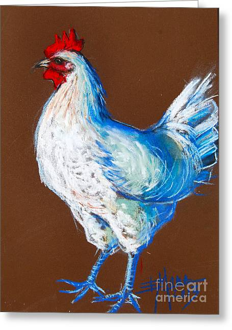Cock-a-doodle-doo Greeting Cards - White Hen Greeting Card by Mona Edulesco